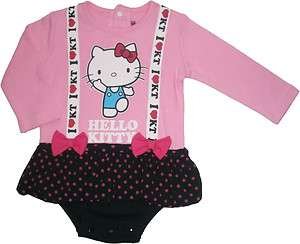 NEW Hello Kitty Baby Long Sleeve Skirted Romper Pink Size 0M 1Yr (cut