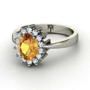 Diana Ring, Oval Citrine 14K White Gold Ring with Diamond Jewelry