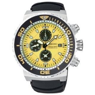 Seiko Mens SPC035 Chronograph Yellow Dial Leather Strap