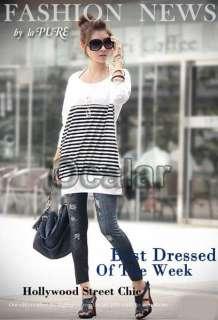 Stripes Long T Shirt Blouse Casual Korea Women Long Sleeve Round Neck