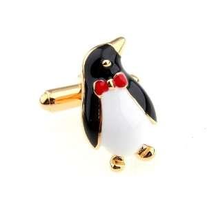 Gold Black White Red Enamel Penguin Cufflinks Cuff Links