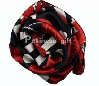 Red Flowers Large Square 35 100% Silk Scarf Kerchief Black And White