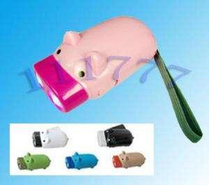LED Pig Shape Hand Crank Squeeze Flashlight Torch