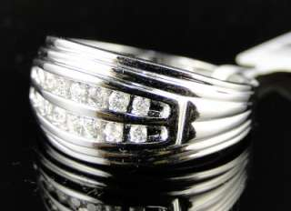 NEW MENS 10K WHITE GOLD 2 ROW ROUND CUT DIAMOND WEDDING 11 MM BAND