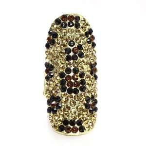Fashion Ring; 2L; Gold Metal; Yellow, Black and Topaz Rhinestones