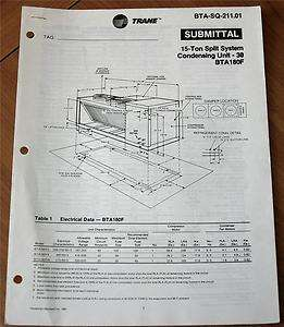 Trane BTA SQ 211.01 Submittal 15 Ton Split System Conde