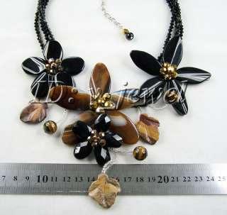Onyx&crystal&tiger eye flower necklace/earring set