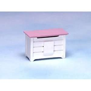 Dollhouse Miniature White/Pink Toy Chest