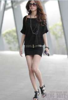 Women Party Cocktail Mini Dress Skirt short sleeves dress with