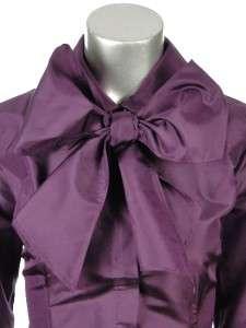 Sutton Studio Womens Silk Taffeta Long Sleeve Neck Tie Bow Blouse