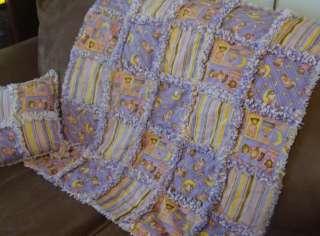baby girl bedtime bears rag quilt blanket pillow brand new handmade