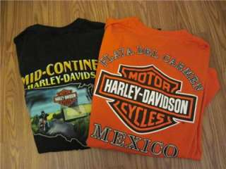 HARLEY DAVIDSON Black & Orange tshirt Motorcycles Mexico Eagle