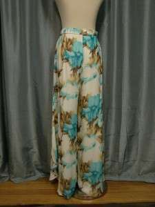ST. JOHN EVENING Multi Colored Floral Print Sequin Palazzo Wide Leg