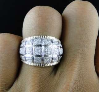 10K TWO TONED GOLD ROUND CUT PAVE DIAMOND XL PINKY FASHION DOMED RING