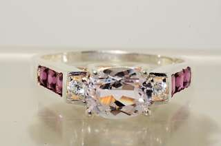 60CT OVAL CUT KUNZITE,GARNET & WHITE TOPAZ RING SIZE 11.25
