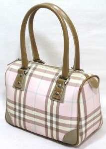 AUTHENTIC BURBERRY CANVAS COATED PINK PLAID SPEEDY DOCTORS BAG