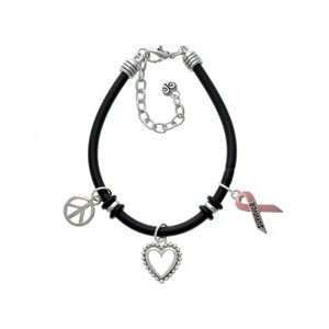 Pink Ribbon Survivor Black Peace Love Charm Bracelet [Jewelry
