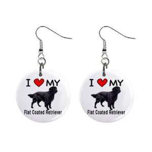 I Love My Flat Coated Retriever Button Earrings