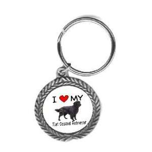 I Love My Flat Coated Retriever Key Chain