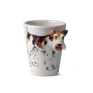 Wire Fox Terrier Sculpted Ceramic Dog Coffee Mug