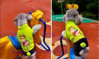 Green Monkey Ice Cream Warm Fleece Thick Dog Pet Clothes Apparel