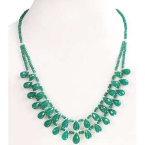 Handmade 2 Strands Natural Faceted Green Emerald Drops Beaded Necklace