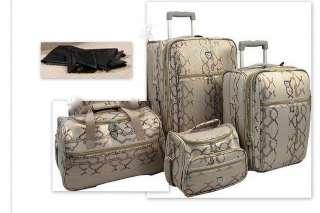 Heys Expandable Snakeskin 4 Piece Luggage Set IVORY BONUS SHOE BAGS
