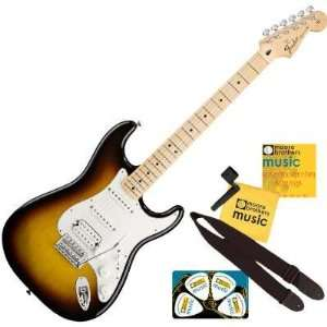 Fender® Standard Stratocaster®, HSS Electric Guitar, Brown Sunburst