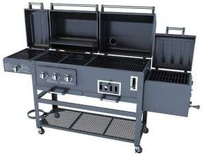 NEW Large 4 in 1 Combo Gas Charcaol Grill 3 Burner with BBQ Smoker Box
