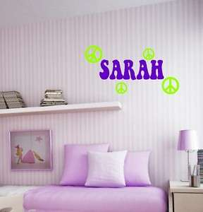 Hip Name with Peace Signs Wall Decal Words Lettering