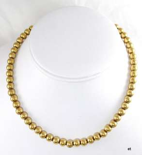 Antique Victorian Solid 14K Yellow Gold Bead Necklace