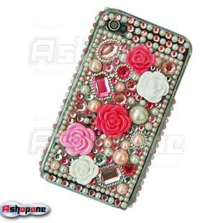 Pink 3D Rose Bling Crystal Hard Case for iPhone 4 4G