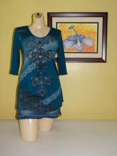 Maternity Womens 3/4 Sleeve Blue Green Bead Embellished T Shirt SZ S