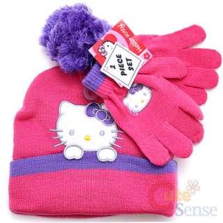Sanrio Hello Kitty Beanie Gloves Set  Pink Purple w/Furry Ball