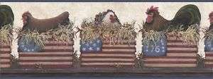 AMERICANA,FLAG,ROOSTER,HEN wallpaper border AV6705.2