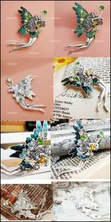 Lovely Dancing Angel Colorful Rhinestones Wing Brooch