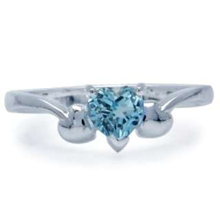 Natural Blue Topaz Heart Shape 925 Sterling Silver Solitaire Ring