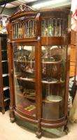 Oak Claw Foot Lion Head Beveled Lead Curved Glass China Cabinet