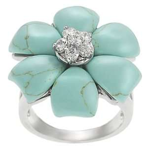 Silvertone Cubic Zirconia accented Turquoise Flower Ring Jewelry