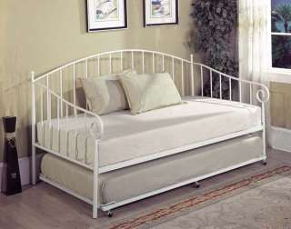 White Finish Metal Twin Size Day Bed (Daybed) Frame ~New~