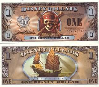 Pirates of the Caribbean Disney Dollars Matched Set   LOW S/N