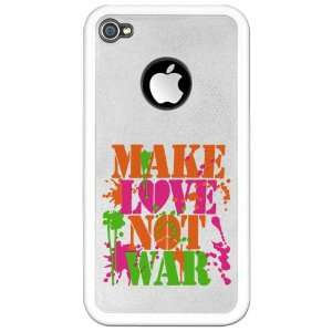 Clear Case White Make Love Not War Peace Symbol Sign