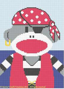 PIRATE SOCK MONKEY Baby Boy Crochet Graph Pattern EASY