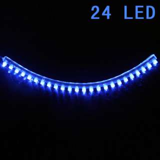 Blue 24CM LED Strip Car Auto Motorcycle Flexible Grill Light Lamp Bulb