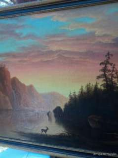 ANTIQUE 19C Large HUDSON RIVER School Original Oil Painting Signed