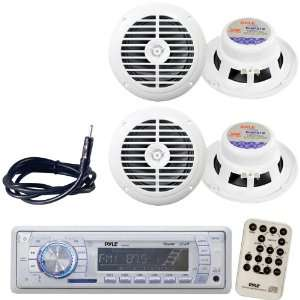 Pyle Marine Radio Receiver, Speaker and Cable Package   PLMR19W AM/FM