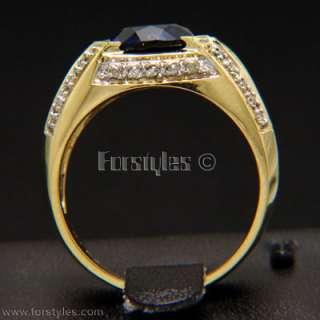 Lab Sapphire Diamonds 14K Solid Gold Mens Ring r10200