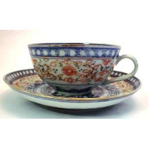 Blue & White Hand Painted Cup & Saucer Oriental Dragon