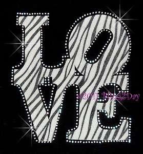 LOVE Zebra Black & White Fabric Patch Rhinestone Iron on Transfer Hot