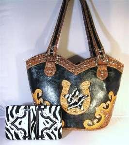 Black Boot Top Horseshoe Zebra Star Hobo Handbag Purse & Wallet